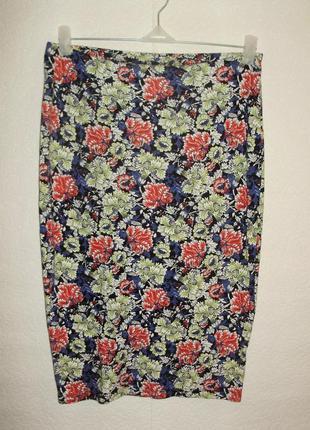 Стрейчевая юбка-карандаш цветочный принт 12/46-48 размера