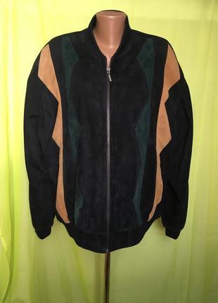 Стильная куртка бомбер из натурального замша и кoжи париж/комбинированная 50/40 р м