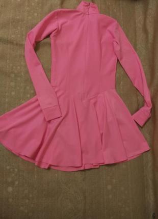 Платье для танцев, ярко-розовое, на замке