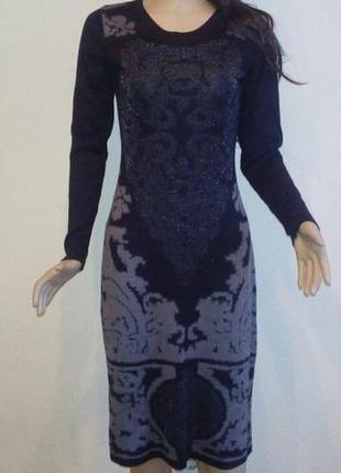 Трикотажное платье с люрексом платье с узором платье демисезонное миди s-m