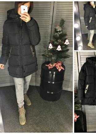 Теплая черная куртка плащ