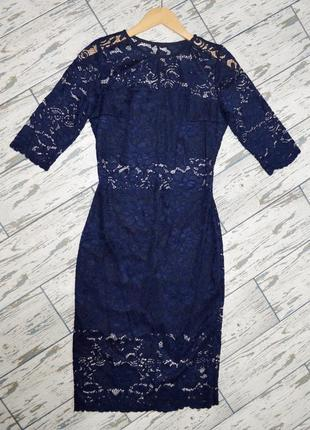 Ажурное платье темно-синего цвета, кружевное платье s/xs