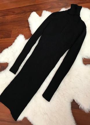 Теплое плотное платье в рубчик , платье гольф