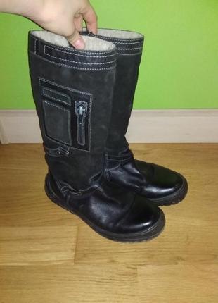 Продам  качественные кожаные польские замшевые сапоги зимние