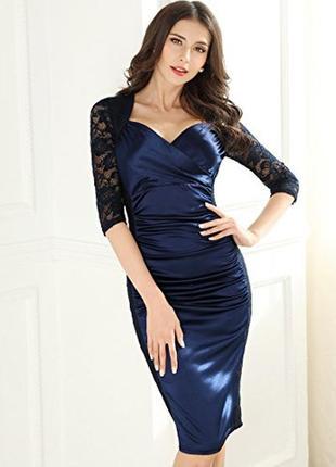 Красивейшее гипюровое платье miusol  с атласной вставкой 46-48