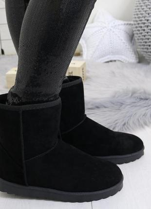 Новые черные зимние замшевые сапоги угги размер 37