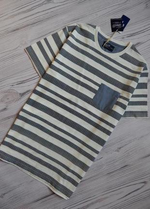 Мужская оригинальная футболка в полоску. размер l.