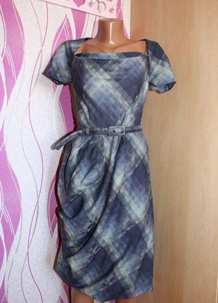 Платье по типу футляр серое в клетку по косой, присобрано по одной стороне, 10