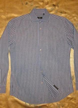 Рубашка hugo boss оригинал лен + хлопок р. m l