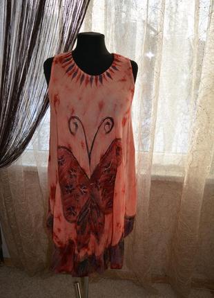 Платье летнее, пляжное, туника, бохо, 52-54-56-58-60 размер
