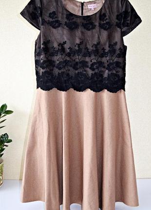 Невероятно красивое брендовое платье с кружевным верхом и шерстяным низом phase eight