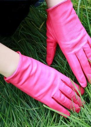 Кожаные перчатки цвета фуксии(италия)новые!
