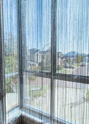 Нитяные шторы, кисея, дождь3