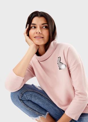 Очень красивый мягкий теплый розовый джемпер свитер ostin