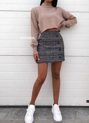 🌿 плотная, твидовая мини юбка с запахом от h&m