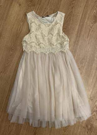 Кружевное кремовое платье!