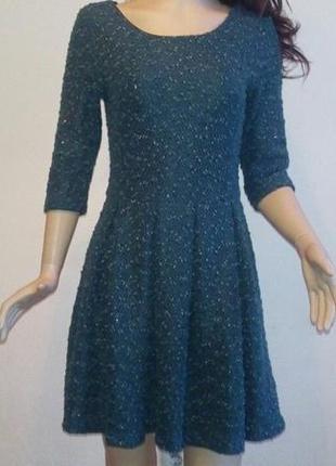 Зеленое фактурное платье демисезонное платье юбка-солнцеклеш  платье в паетках