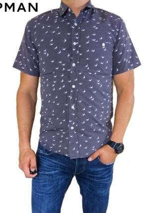 Мужская летняя приталенная серая в принт тенниска рубашка topman