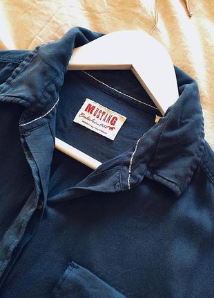 Рубашка mustang 36 s синя
