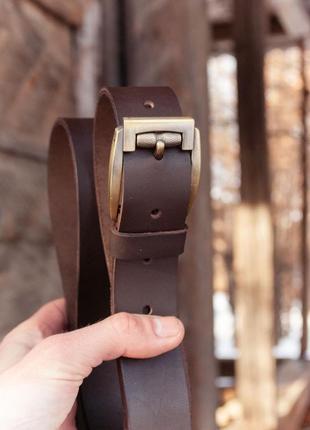 Качественный ремень из натуральной кожи коричневый3 фото