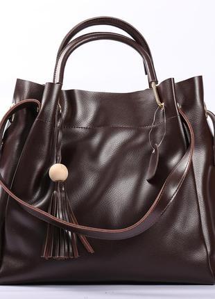 Красивая кожаная сумка, темно-коричневая
