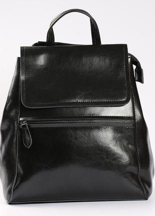 Вместительный кожаный рюкзак(трансформер) черный