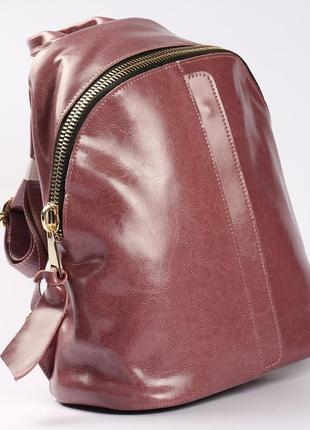 Кожаный красивый рюкзак розовый