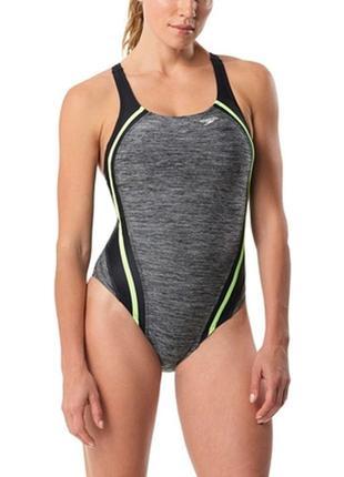36-38р. сплошной серый купальник для плавания, бассейна speedo endurance