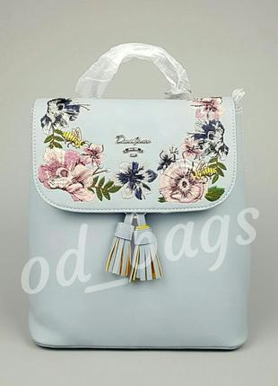 Бесплатная доставка! женский стильный рюкзак с вышивкой david jones 5862-3 (blue)