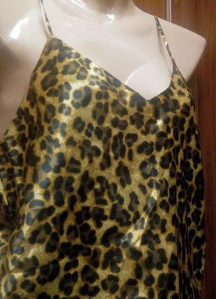 Шелковая пижама с принтом леопард леопардовая майка и шорты
