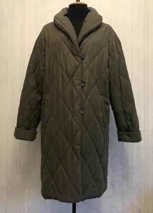 Стеганное пальто кокон, бойфренд, пуховик оверсайз хаки