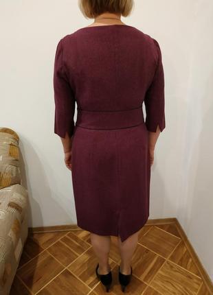 Платье делового стиля из плотной шерсти.цвет бордо,елочка.оторочка черным кантом.