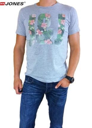 Мужская летняя легкая серая в принт футболка jack&jones