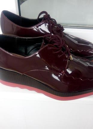 Лакированные туфли на платформе zara trafaluc