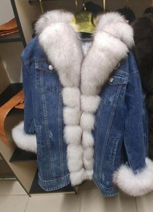 Джинсовка утеплённая с мехом песца парка джинсовая джинсовая куртка с песцом