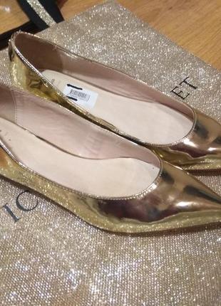 Кожаные золотые балетки bata 40 размер