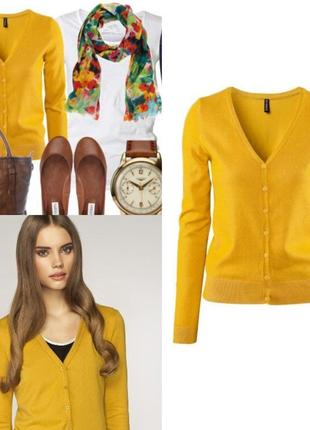 Ярко желтый пуловер на пуговицах, кардиган
