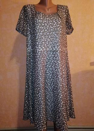 Элегантное платье в горошек 20 размера/короткий рукав