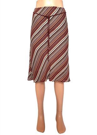 Летняя юбка в полоску, двойной слой ткани
