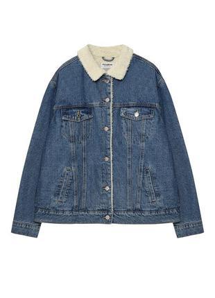 Джинсовый пиджак на меху синий джинсовка джинсовая куртка курточка синій джинсовий