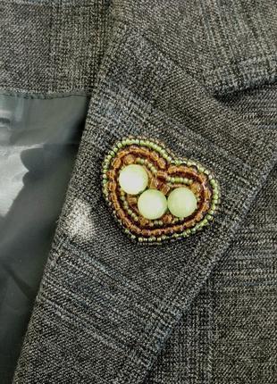 Брошка из бисера зеленая, оливковая, хаки, сердце, сердечко, серце, брошь