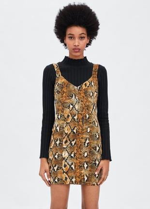 Платье s m l zara змеиный принт animal print змея сарафан