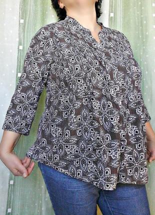 Блузка интересной расцветки с защипами спереди, 81% хлопка