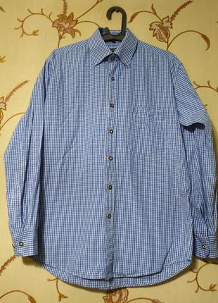 Мужская молодежная хлопковая рубашка в мелкую синюю клетку, на невысокий рост