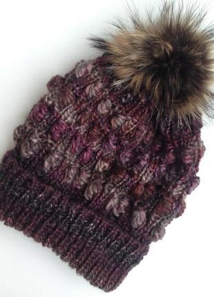 Стильная вязаная шапка.  в наличии!