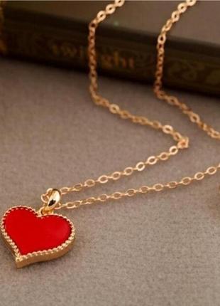 Подвеска кулон цепочка красное сердце