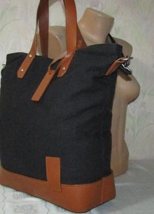 Большая сумка 100 % кожа и текстиль - kiomi -