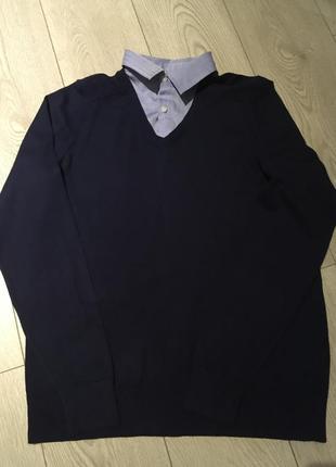 Синий джемпер с воротником обманка marks& spencer размер м