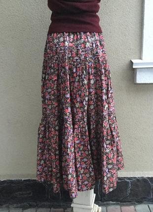 Красивая,пышная юбка в цветочный принт,этно,бохо,деревенский стиль,хлопок