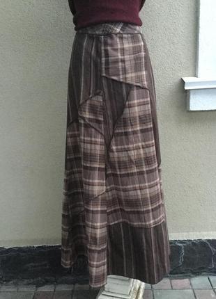 Коричневая в клетку юбка-клиньями в этно,бохо стиле ,большой размер